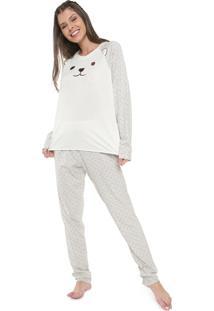 Pijama Laibel Estampado Off-White/Cinza