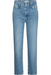 Paige Calça Jeans Reta Sarah Com Pregas - Azul