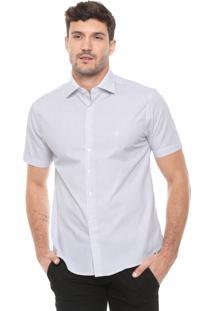 Camisa Dudalina Slim Maquineta Branca/Cinza