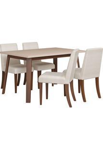 Conjunto De Mesa Para Sala De Jantar Com 4 Cadeiras Rússia-Volttoni - Castanho / Off White
