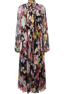 Dolce & Gabbana Vestido Longo De Seda - Preto