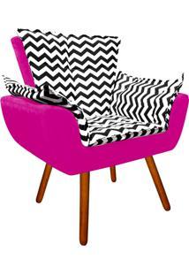 Poltrona Decorativa Opala Suede Compos㪠Estampado Zig Zag Preto D80 E Suede Pink - D'Rossi - Rosa - Dafiti