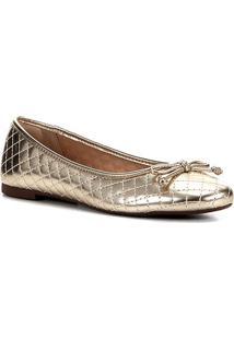 Sapatilha Shoestock Verniz Matelassê Bico Redondo Feminina - Feminino-Ouro