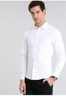 Camisa Super Slim Estampada Off White