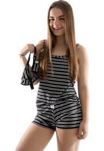 Baby Doll 4 Estações Pijama Listrado Com Calcinha De Brinde Curto Preto - Kanui