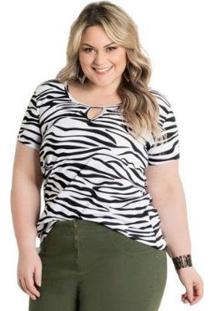 Blusa Plus Size Marguerite T-Shirt Animal Print Feminina - Feminino-Branco