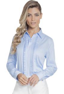 Camisa Feminina Azul Com Drapeado Principessa Savia