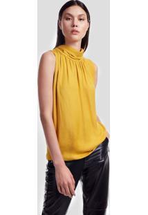 Blusa Jacquard Com Gola Color Amarelo Mel