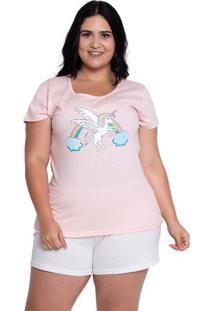 Pijama Short Doll Plus Size Unicórnio Espacial Luna Cuore