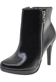 Bota Feminina Ankle Boot Verniz/Preto Via Marte - 181203