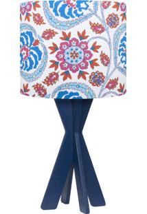 Abajur Carambola Floral Azul