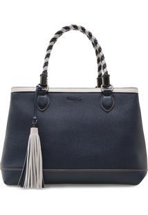 Bolsa Feminina Corello Shoulder Bag P&B Couro Azul Marinho