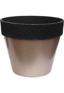 Vaso Metalizado Com Relevos- Marrom Claro & Preto- 2Companhia Das Folhas