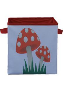Caixa Organizadora De Brinquedos Organibox Cogumelo Branco/Vermelha
