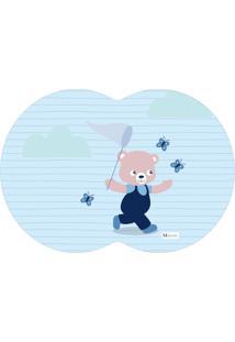 Tapete Pet Mdecore Geométrico Urso Azul 54X39Cm