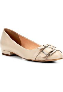 Sapatilha Couro Shoestock Fivelas Feminina - Feminino-Off White