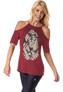 Blusa Geomã©Trica Com Vazados- Vermelha & Off White- Vestem