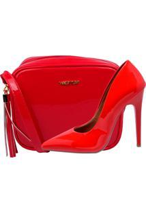Kit Scarpin Bolsa Factor Fashion Verniz Vermelho