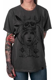 Camiseta Índia Filtro Dos Sonhos Artseries Feminina - Feminino-Grafite