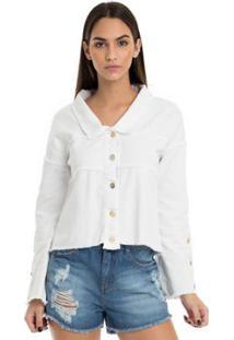 Jaqueta De Sarja Moikana Com Botões - Feminino-Branco
