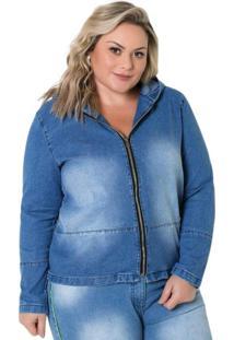 Jaqueta Jeans Plus Size Com Zíper