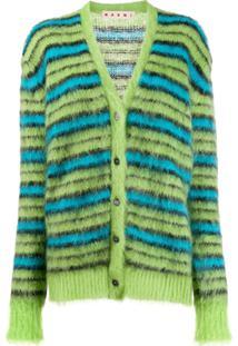 Marni Striped Knit Cardigan - Verde