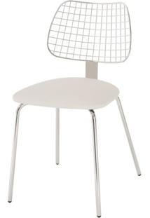 Cadeira Steel Chair Assento Dunas Branco Com Pes Cromados - 46692 - Sun House