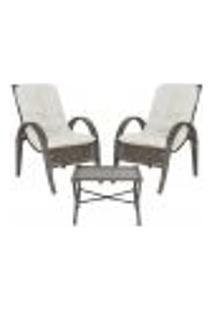 Jogo Cadeiras 2Un E Mesa P/ Jardim Edicula Varanda Descanso Trama Napoli Plus Pedra Ferro A34
