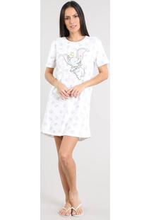 Camisola Feminina Dumbo Estampada Manga Curta Off White
