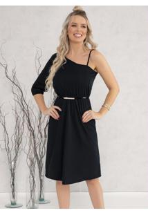 Vestido Com Decote Assimétrico Preto