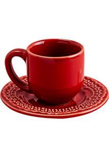 Xícara De Café Com Pires Madeleine 5Cm Vermelha