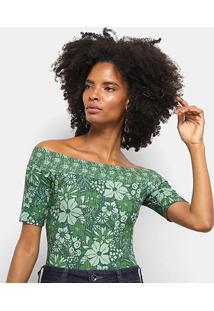 Body Colcci Canelado Estampa Floral Feminino - Feminino-Verde+Branco
