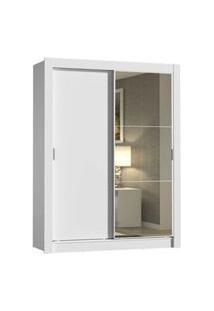 Guarda-Roupa Solteiro Madesa Dallas 2 Portas De Correr Com Espelho 2 Gavetas Branco Branco