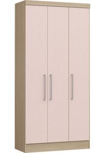 Modulo Com 3 Portas E 2 Gavetas Infinity 3830A-Castro Móveis - Nogueira / Rosa Blush