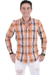 Camisa Xadrez Horus Slim Social Estampada Laranja 100232