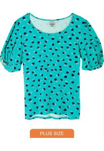 Blusa Azul Poá Conforto Plus