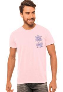 Camiseta Masculina Estonada Joss Palm Rosa