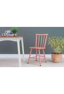 Cadeira De Jantar De Madeira Mimo Laqueada Rosa Coral 44X41,5X81Cm