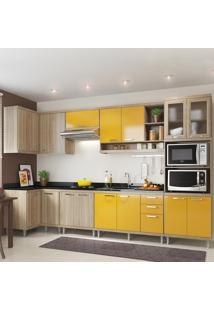 Cozinha Completa 15 Portas 3 Gavetas Para Pia 5830 Amarelo/Argila - Multimóveis