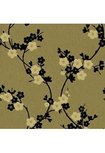 Papel De Parede Floral- Dourado & Preto- 1000X52Cm