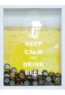 Quadro Porta Tampinhas De Cervejas Keep Calm 22X37Cm Branco