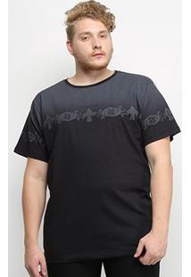Camiseta Gajang Degradê Estampada Plus Size Masculina - Masculino-Preto