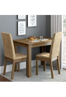 Conjunto Sala De Jantar Madesa Josi Mesa Tampo De Madeira Com 2 Cadeiras Marrom - Tricae