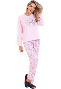 Conjunto De Pijama Luna Cuore Inverno Moletinho Feminino - Feminino-Rosa