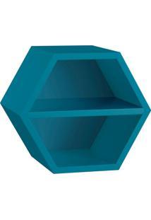 Nicho Hexagonal Favo Ii Com Prateleira Azul