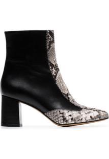 Kalda Black Gata 70 Snakeskin Print Ankle Boots - Preto