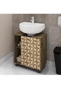 Armário Para Pia De Banheiro Pequin Madeira Rústica/Madeira 3D - Bechara Móveis