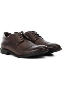 Sapato Casual Couro Ferracini Bolonha Recorte Bico Masculino - Masculino-Tabaco