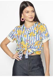 Blusa Floral Com Amarraã§Ã£O- Azul & Amarelo- Colccicolcci