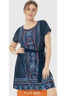 Vestido Azul Escuro Curto Com Amarração Wee!
